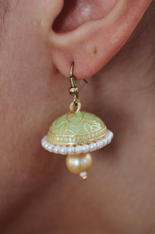 Assorted Meenakari Pearl Drop Jhumkay
