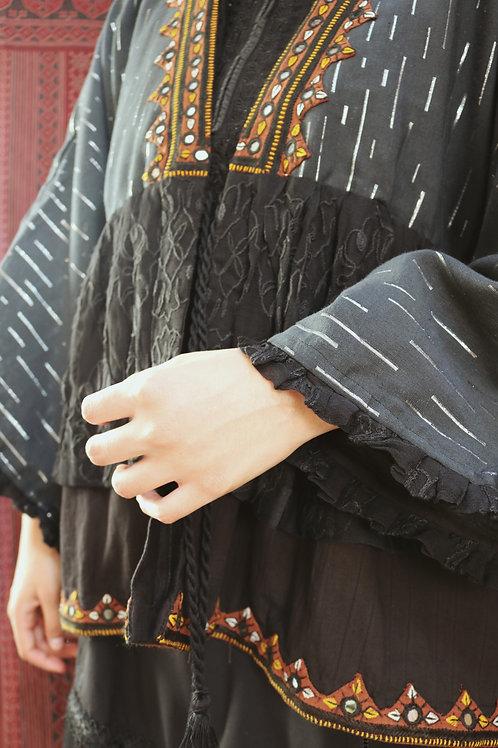 Black & Brown Mirrorwork Frill Jacket