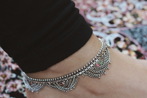 Gemstone Layered Chain Anklets