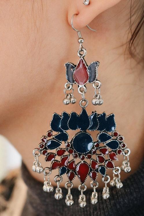 Statement Lotus Flower Meenakari Earrings