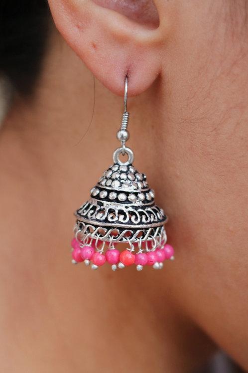 Cone Jhumkay: Pink / Black Beads
