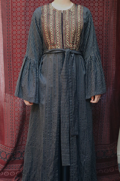 Mustard Embroidered Belt Kimono