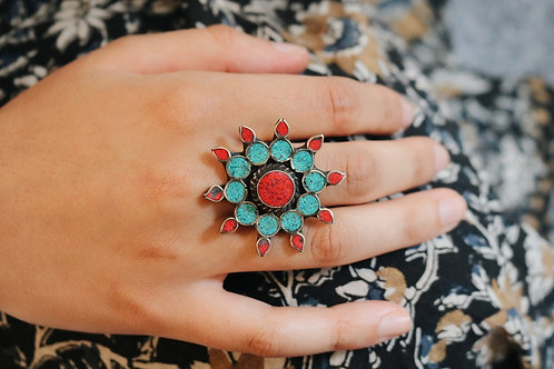 Nepali Coral & Turquoise Flower Ring