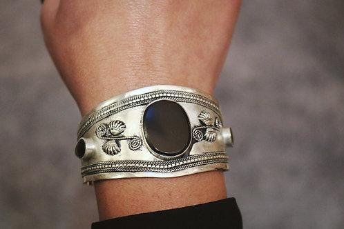 Black Stone Embossed Flower Cuff