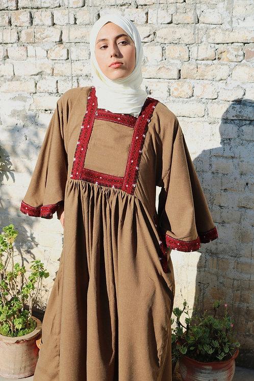Khaki Folk Maxi Dress
