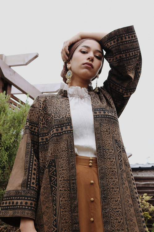 Khaki Block Print Short Kimono