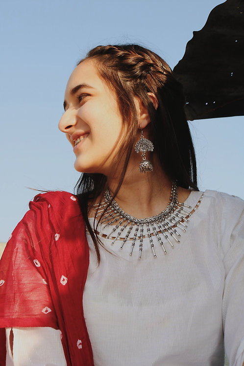 Statement Silver Spiked Necklace