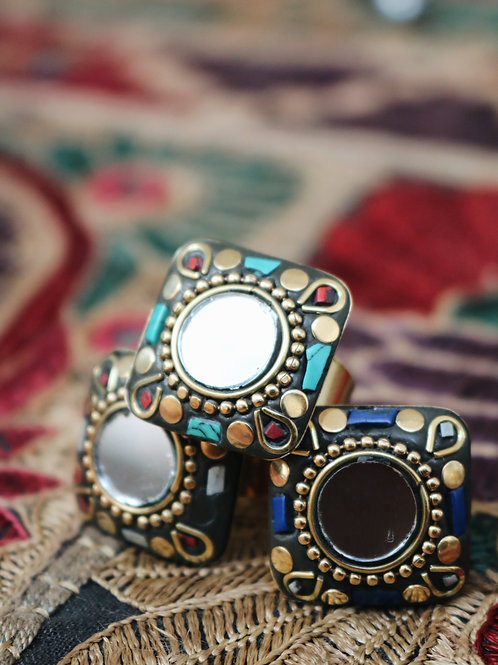 Assorted Square Mirror Rings
