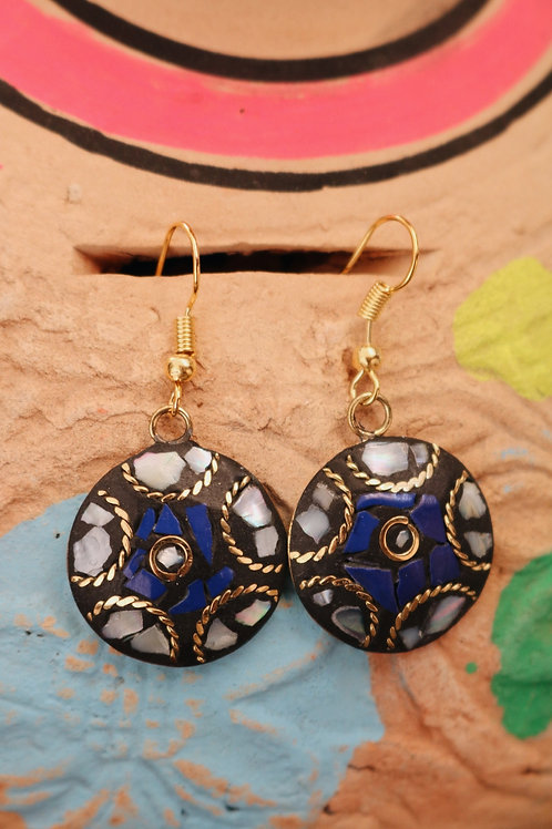 Blue / Black Small Disc Mosaic Cut Earrings