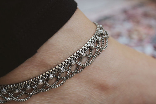 Silver Drop Chain Anklets