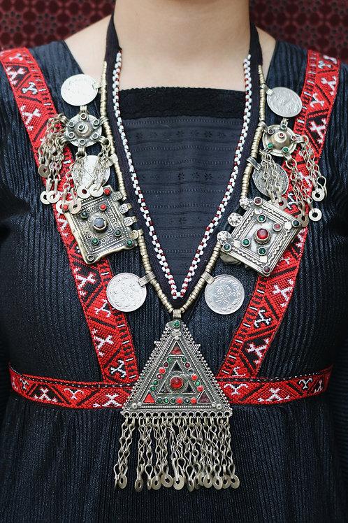 Antique Kuchi Triangle Amulet Necklace