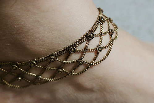 Bronze Double Chain Anklets