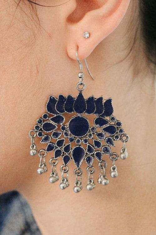 Lotus Flower Meenakari Bell Earrings