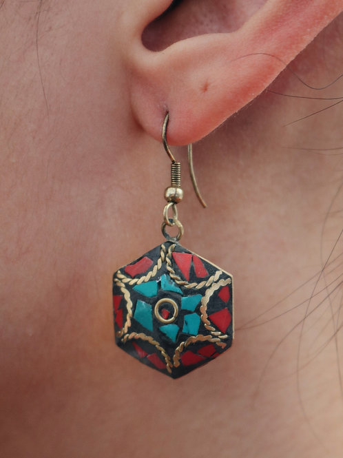 Hexagon Mosaic Cut Earrings