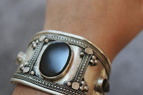 Black / Turquoise Stone Large Cuff