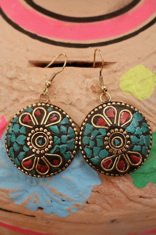 Blue Disc Mosaic Cut Earrings