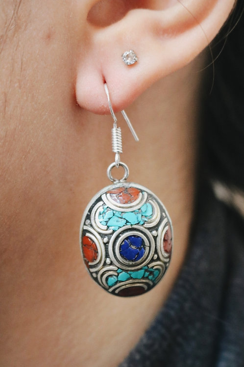 Nepali Large Oval Earrings