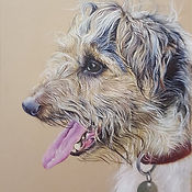 Simba Terrier Dog Portrait by Claire Mil