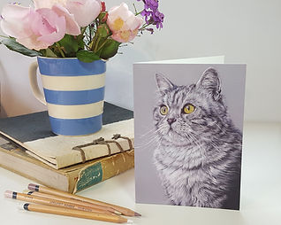 grey-tabby-cat-greeting-card-claire-mill