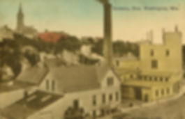 Old Port Brewing Company postcard, hand colored