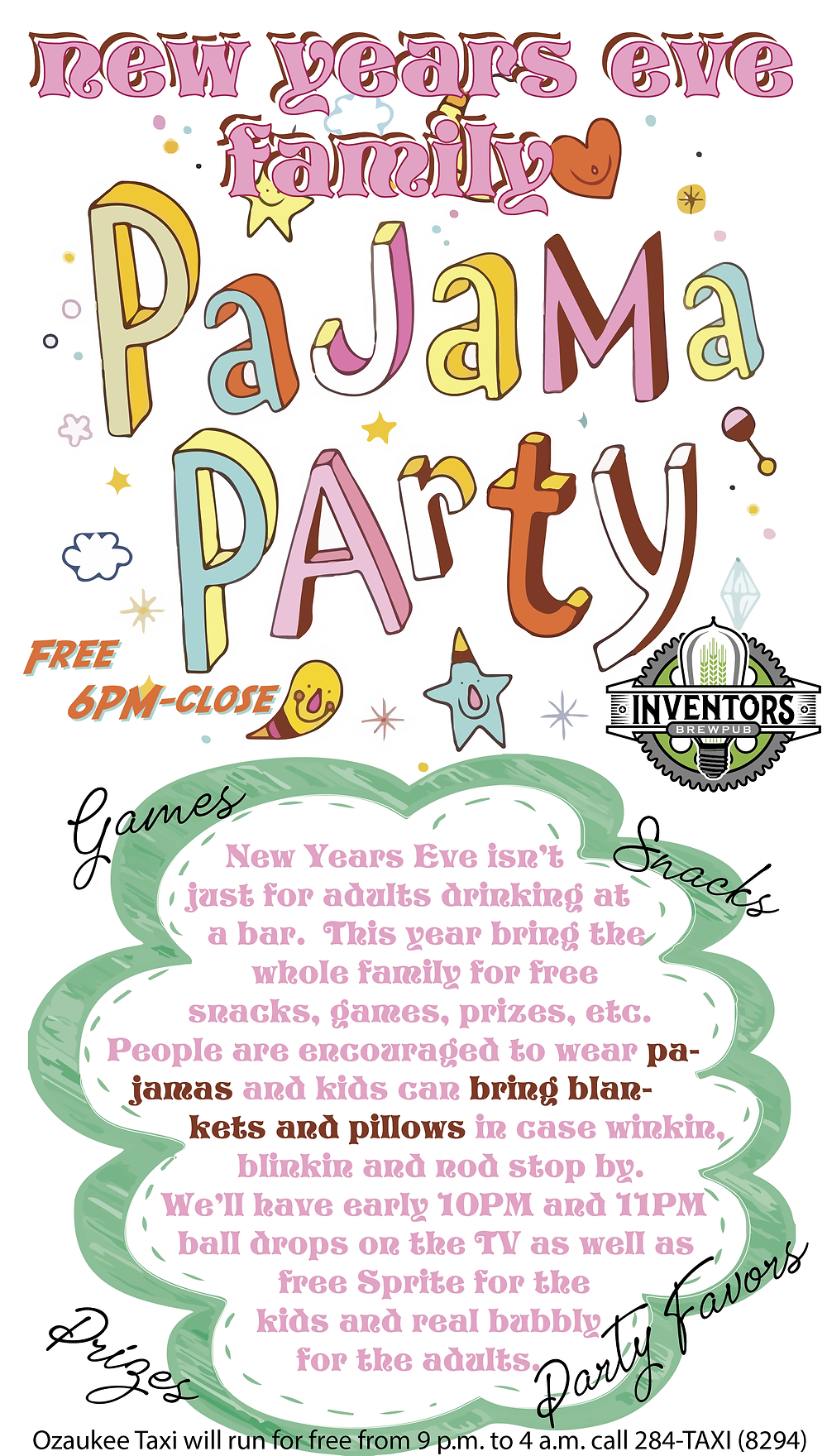 pajama party poster for new years eve 6PM