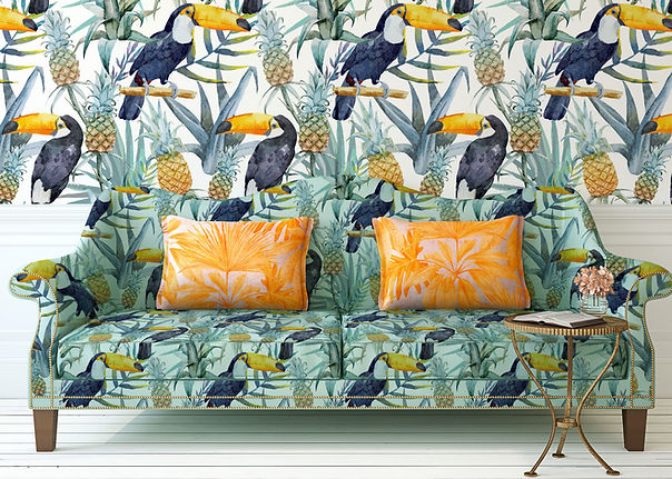 Tropical Print Sofa i Wall
