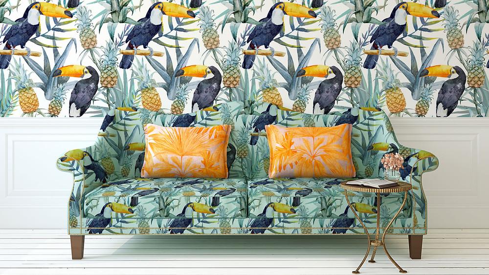 Wallpaper, Nature Wallpaper, Nature Print, Toucan Print, Sofa, Side Table