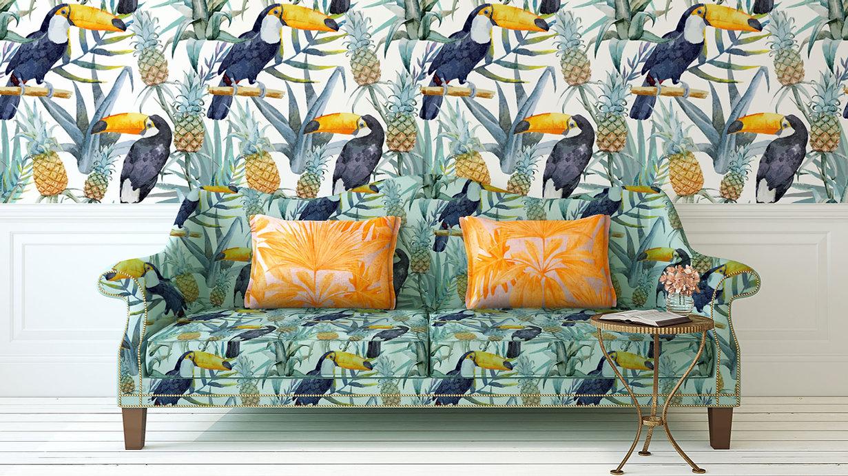 Tropical de la impresión del sofá y la p