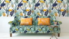 Tropical Print Sofa and Wall