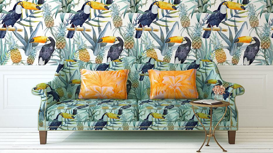 Impressão tropical Sofá e parede