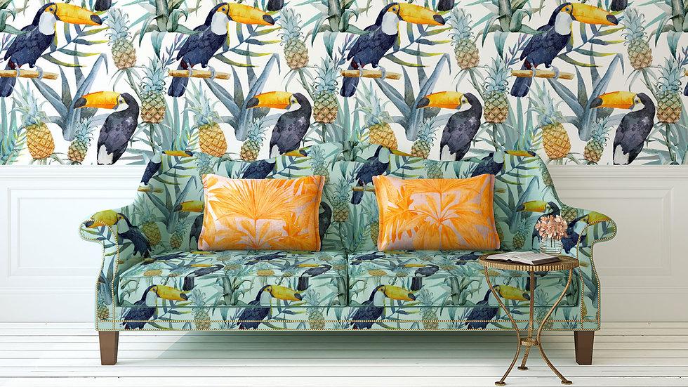 熱帯印刷ソファと壁