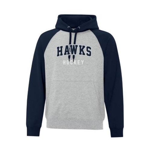 Adult Winterhawks Applique Fleece Two Tone Hoodie