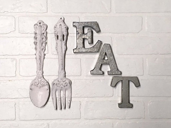 Kitchen Wall Decor, EAT Sign, Farmhouse Kitchen, EAT, Kitchen Wall Art, Fork and Spoon, Rustic Kitchen, Kitchen Wall Hangin