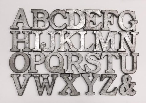 """3 3/4"""" High Galvanized Metal Letters"""