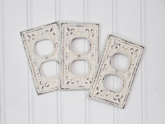 Outlet Covers,Plug Cover,Switchplates,Light Switch Cover,Shabby Chic,Outlet Plate Covers,Outlet Cover,Rocker,GFI,Cast Iron, T
