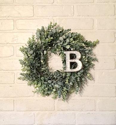 Wreath, Wreaths, Frosted Eucalyptus Wreath, Mini Farmhouse Wreath, Greenery Wreath, Candle Wreath, Wedding, Centerpieces, The
