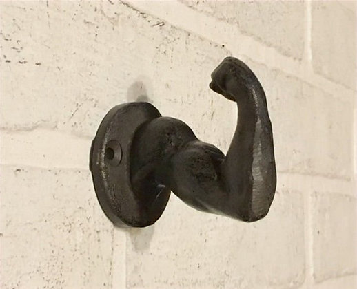 Cast Iron Muscle Arm Wall Hook