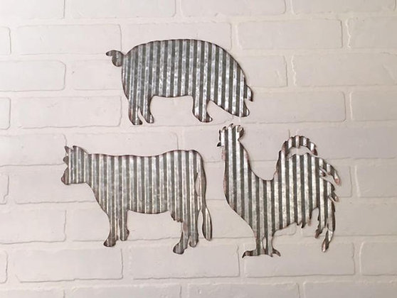 Farmhouse Décor, Corrugated Metal Animals, Metal Rooster, Metal Pig, Metal Cow, Metal Farm Signs, Metal Farm Animals, Farmhou
