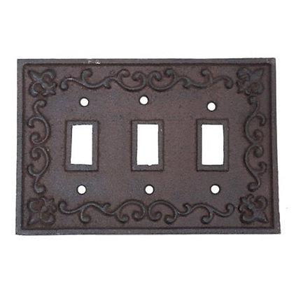 Rustic Cast Iron Fleur De Lis Triple Toggle Light Switch Plate
