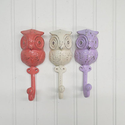 Owl Hook, Coat Hook, The Shabby Store, Animal Hook, Vintage Hook, Towel Hook, Nursery Wall Decor, Wall Hook, Owls