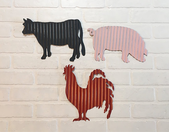 Colored Corrugated Animal Wall Hanging