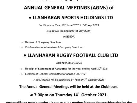 Llanharan Sports Holdings Ltd AGM