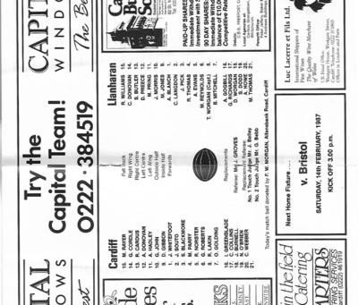 Cardiff RFC vs Llanharan RFC 1987 Teams