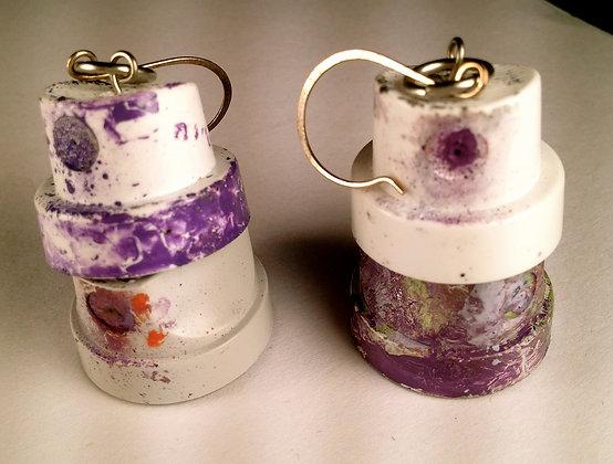 Double Fatcap Earrings-Purple Rain