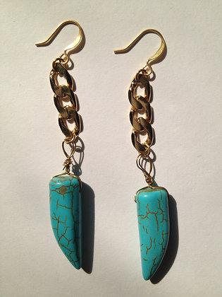 Turquoise Stone Horn Earrings