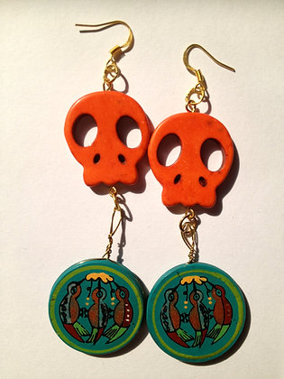 OsoMuertos Skull Earrings - Orange