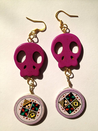 OsoMuertos Skull Earrings - Purple