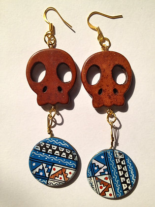 OsoMuertos Skull Earrings - Brown