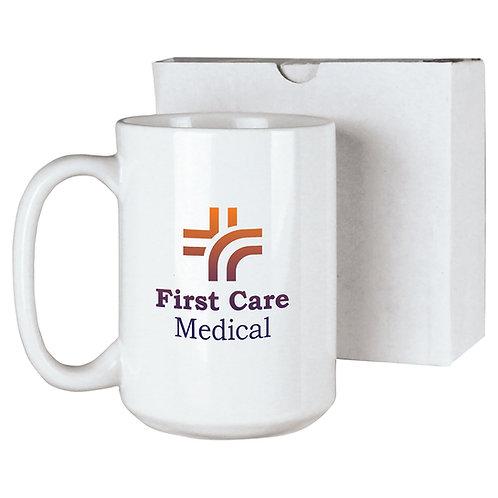 15 oz. White sublimated mug