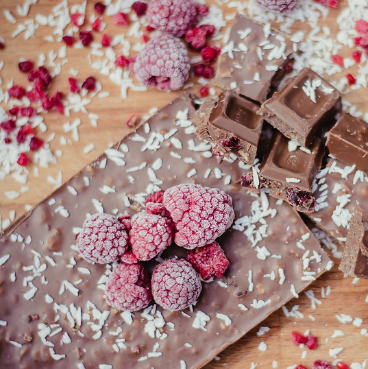 Chocolate hhhhmm with raspberry and coconut